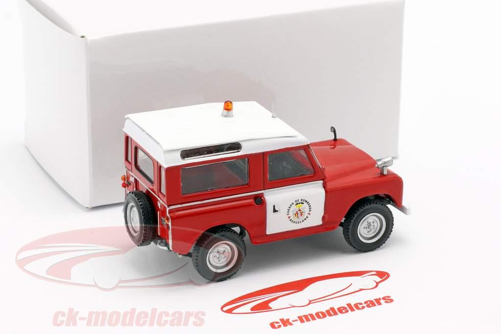 Land Rover II brandweer Barcelona rood / Wit 1:43 Altaya
