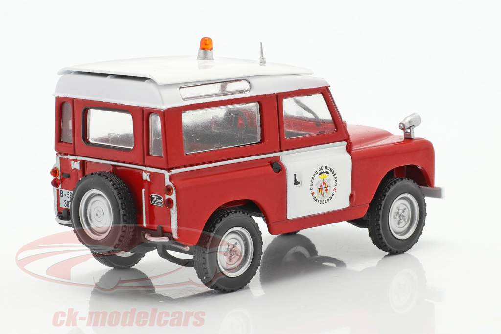 Land Rover II corpo de Bombeiros Barcelona vermelho / Branco 1:43 Altaya