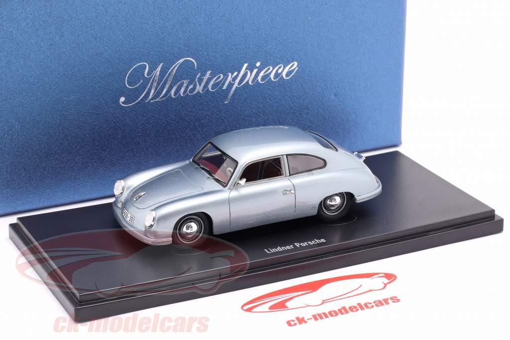 Lindner Porsche voorlopig ontwerp Bouwjaar 1953 zilver blauw 1:43 AutoCult