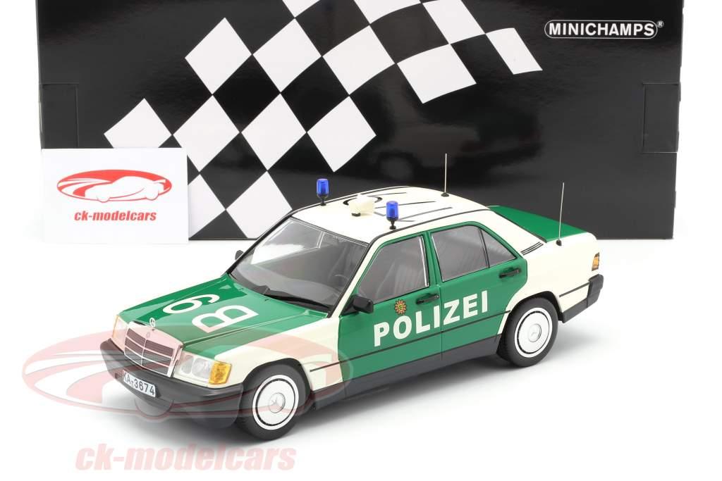 Mercedes-Benz 190E (W201) Police year 1982 green / white 1:18 Minichamps