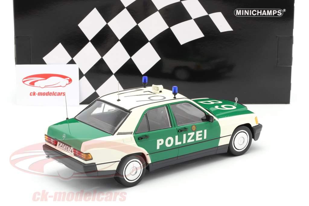 Mercedes-Benz 190E (W201) policía Año de construcción 1982 verde / Blanco 1:18 Minichamps