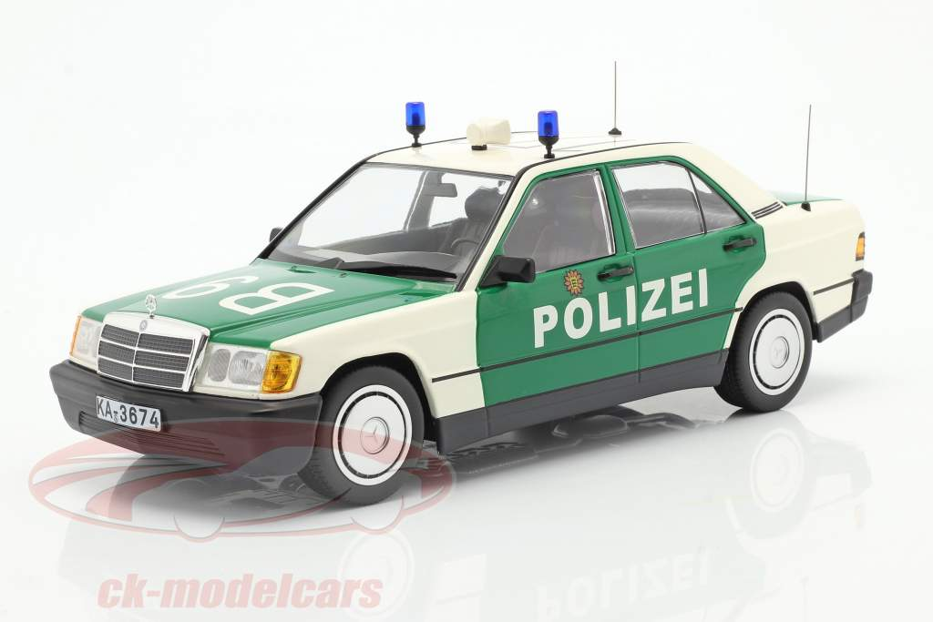 Mercedes-Benz 190E (W201) Polizei Baujahr 1982 grün / weiß 1:18 Minichamps