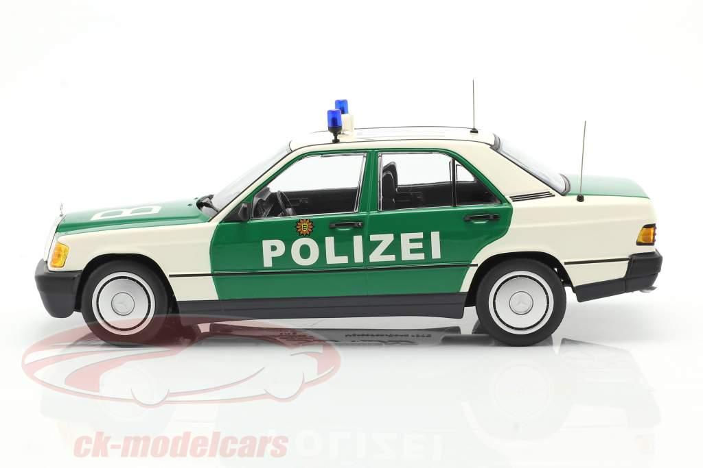 Mercedes-Benz 190E (W201) politi Byggeår 1982 grøn / hvid 1:18 Minichamps