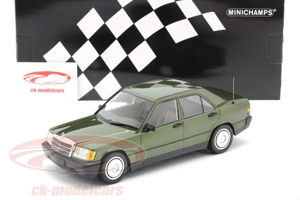 Mercedes-Benz 190E (W201) Bouwjaar 1982 groen metalen 1:18 Minichamps