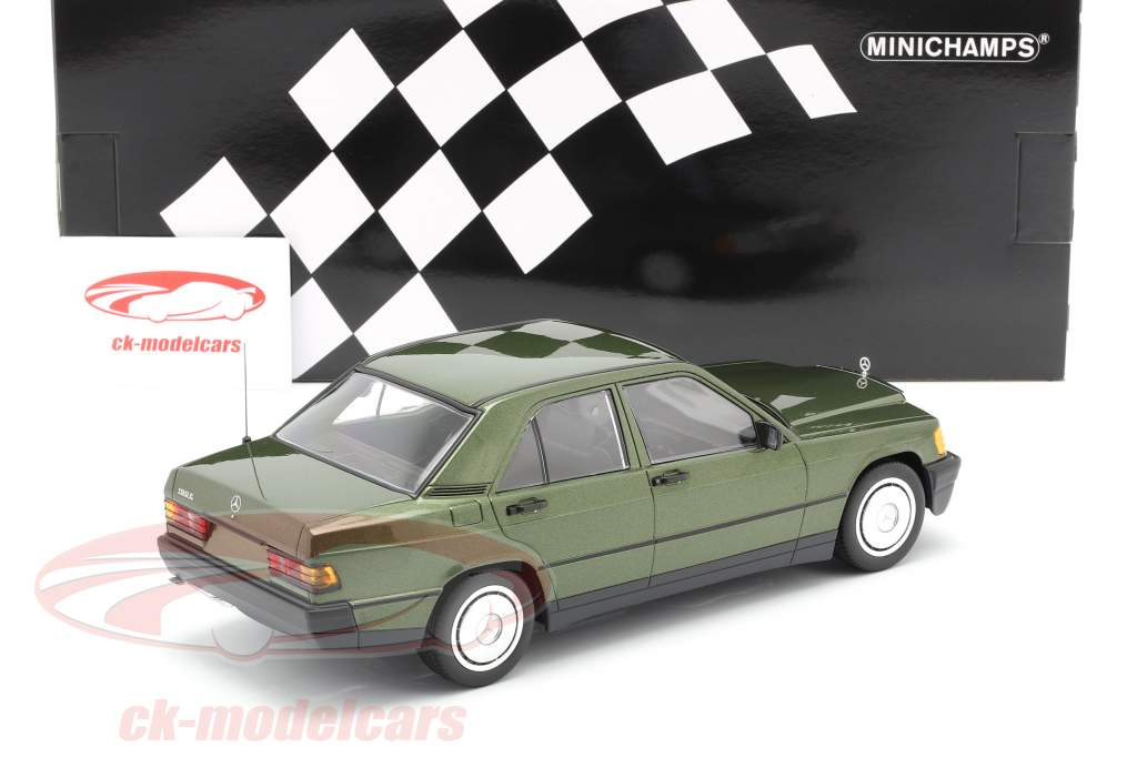 Mercedes-Benz 190E (W201) Année de construction 1982 vert métallique 1:18 Minichamps