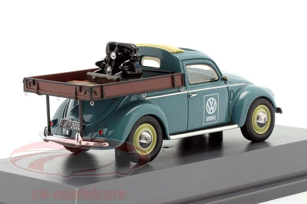 Volkswagen VW Kever Beutler-platform blauw 1:43 Schuco