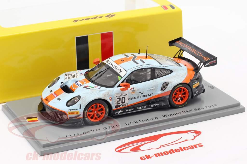 Porsche 911 GT3 R #20 winnaar 24h Spa 2019 Vuil Ras versie 1:43 Spark