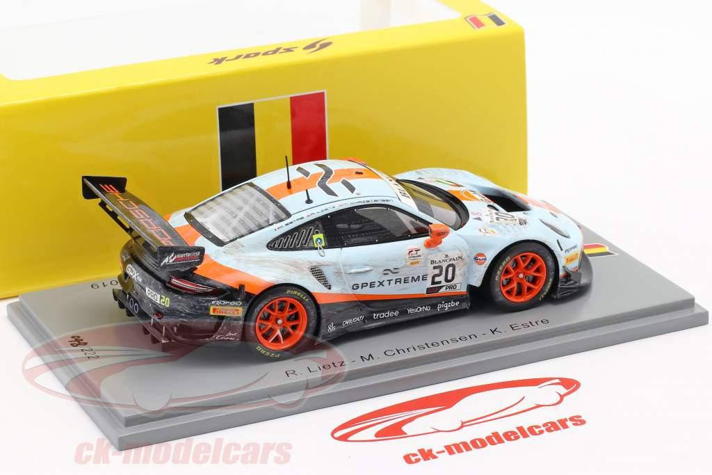 Porsche 911 GT3 R #20 vincitore 24h Spa 2019 Sporco Gara versione 1:43 Spark