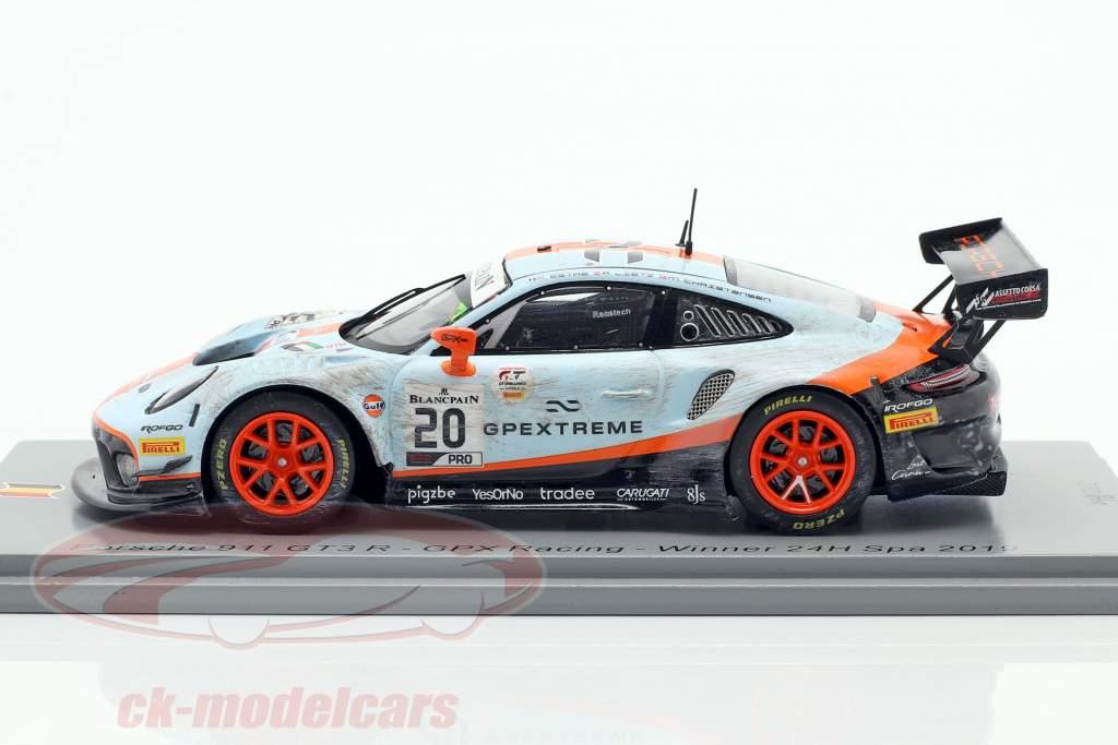 Porsche 911 GT3 R #20 vinder 24h Spa 2019 Snavset Race version 1:43 Spark
