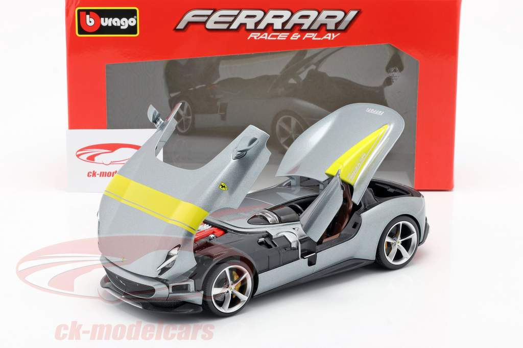 Ferrari Monza SP1 year 2019 grey metallic / yellow 1:18 Bburago
