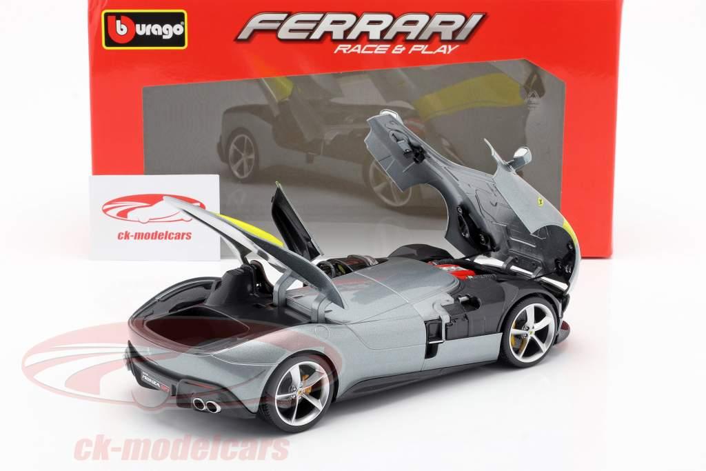 Ferrari Monza SP1 Année de construction 2019 gris métallique / Jaune 1:18 Bburago