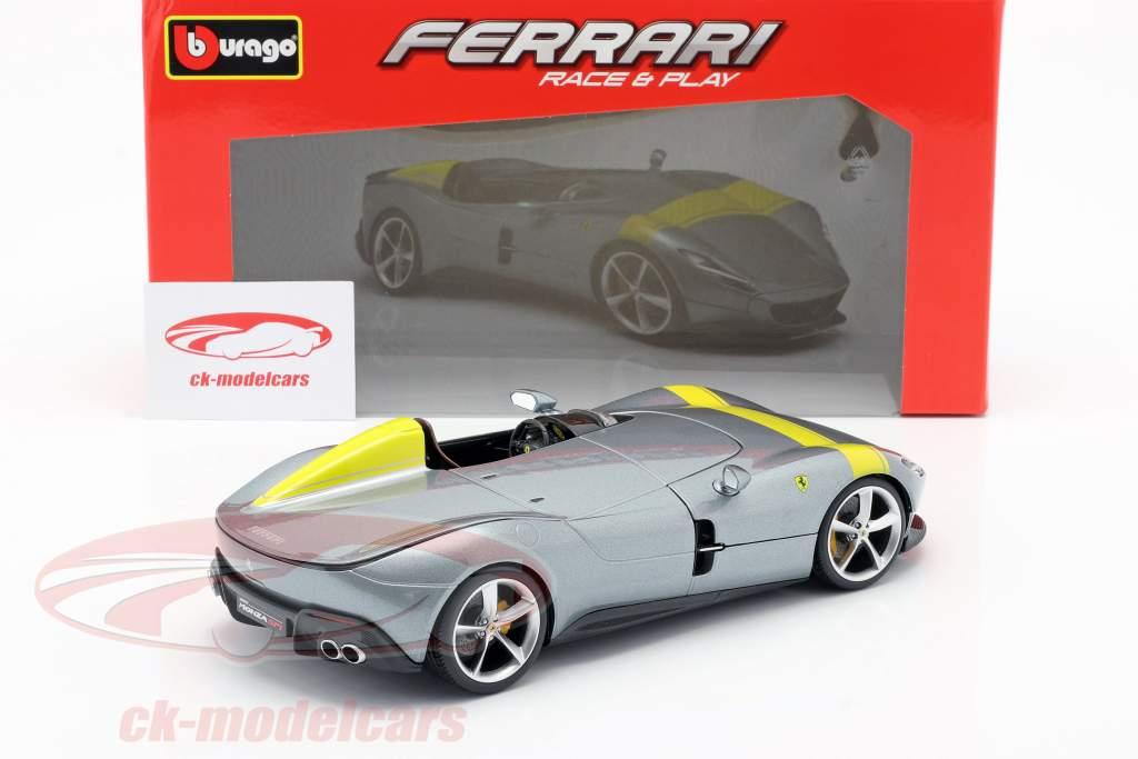 Ferrari Monza SP1 Anno di costruzione 2019 Grigio metallico / giallo 1:18 Bburago
