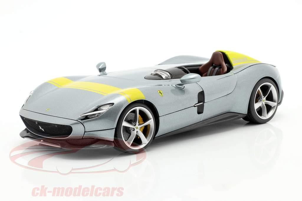 Ferrari Monza SP1 Baujahr 2019 grau metallic / gelb 1:18 Bburago