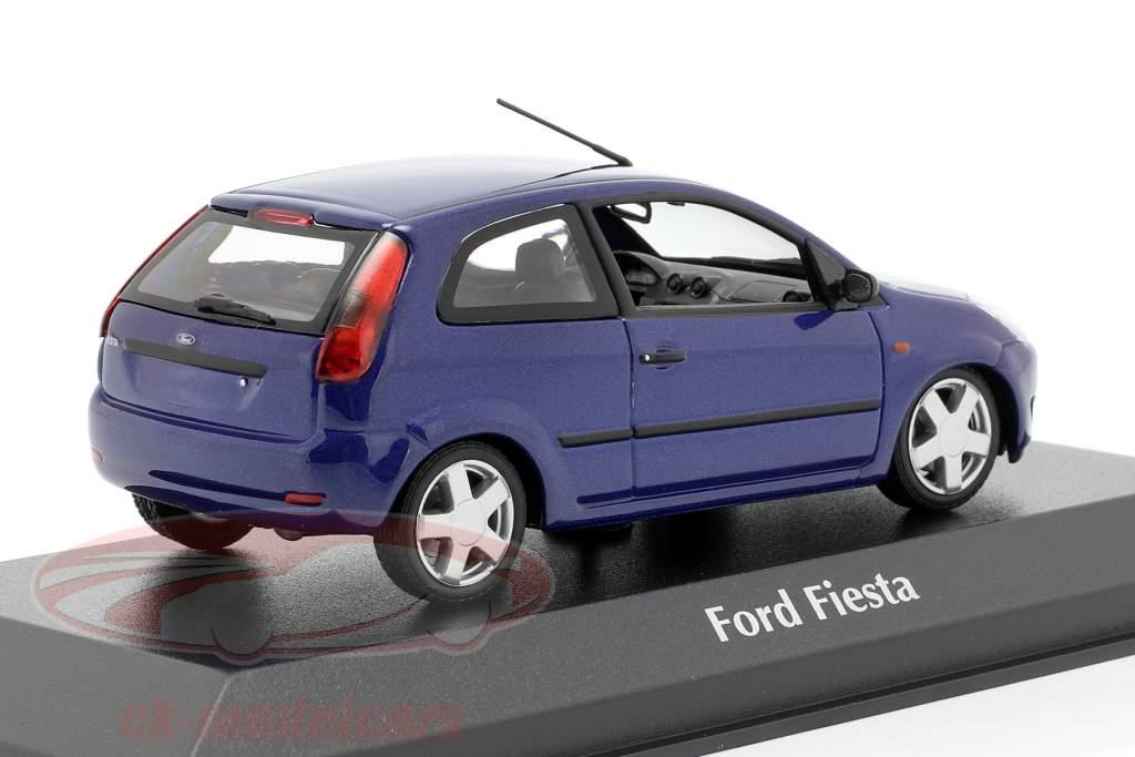 Ford Fiesta Ano de construção 2002 azul metálico 1:43 Minichamps
