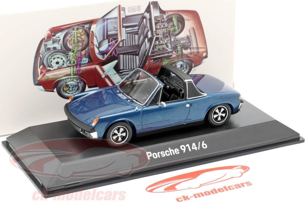 Porsche 914/6 Año de construcción 1973 azul metálico 1:43 Spark
