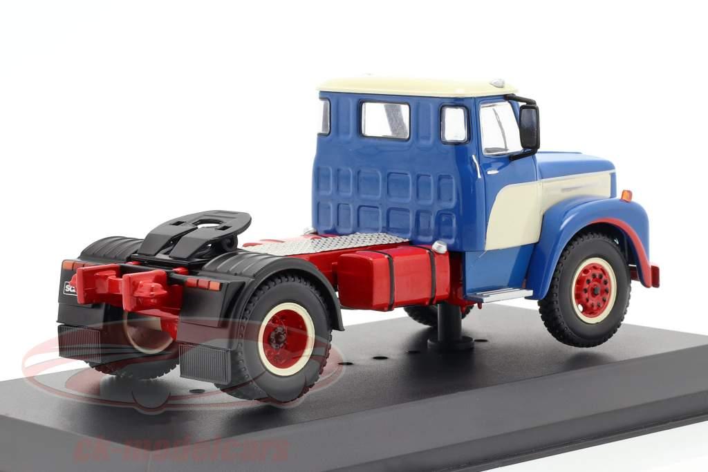Scania 110 Super lastbil Byggeår 1953 blå / hvid / rød 1:43 Ixo