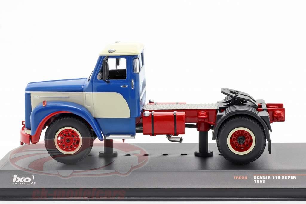 Scania 110 Super Vrachtwagen Bouwjaar 1953 blauw / Wit / rood 1:43 Ixo