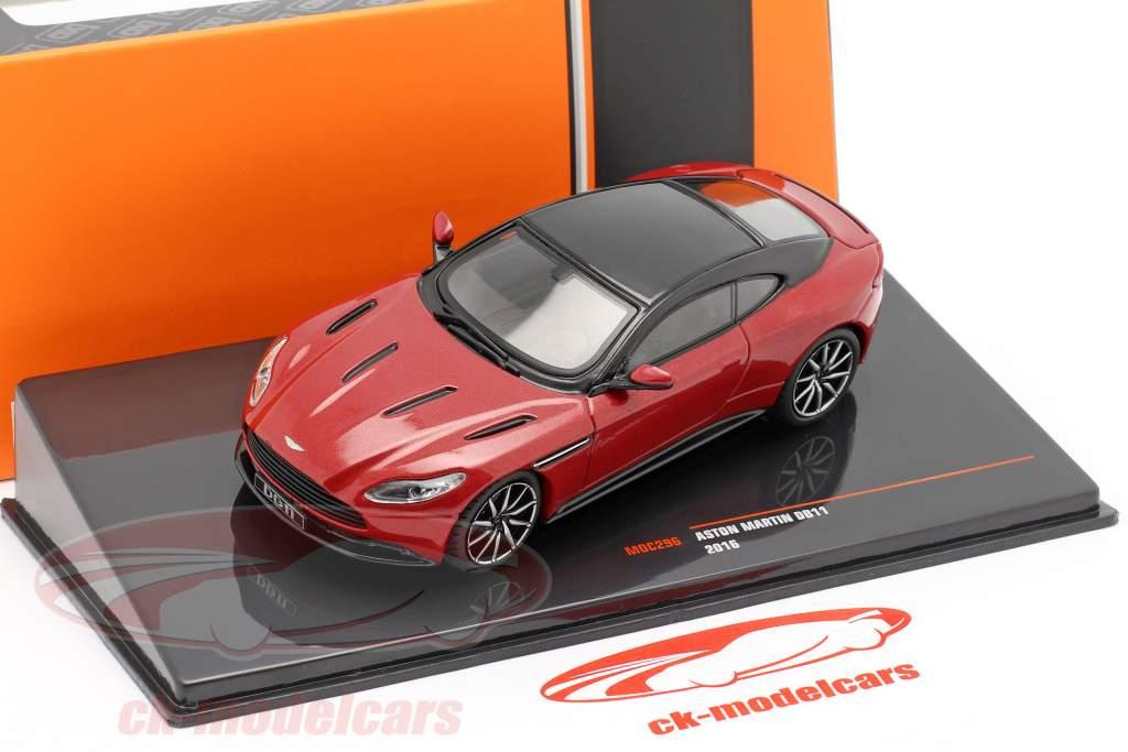 Aston Martin DB11 Année de construction 2016 rouge métallique / noir 1:43 Ixo