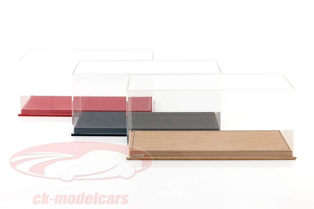 Høj kvalitet udstillingsvindue med bundplade ud af læder til model biler i vægt 1:18 beige SAFE