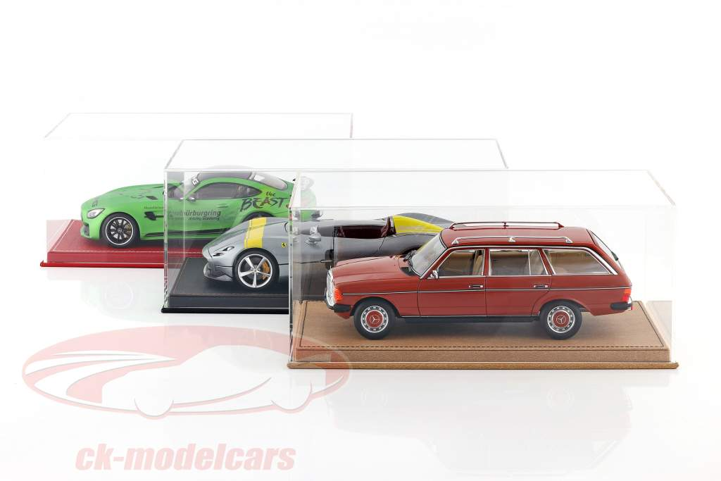 High-quality showcase with baseplate out of leather for model cars in scale 1:18 beige SAFE