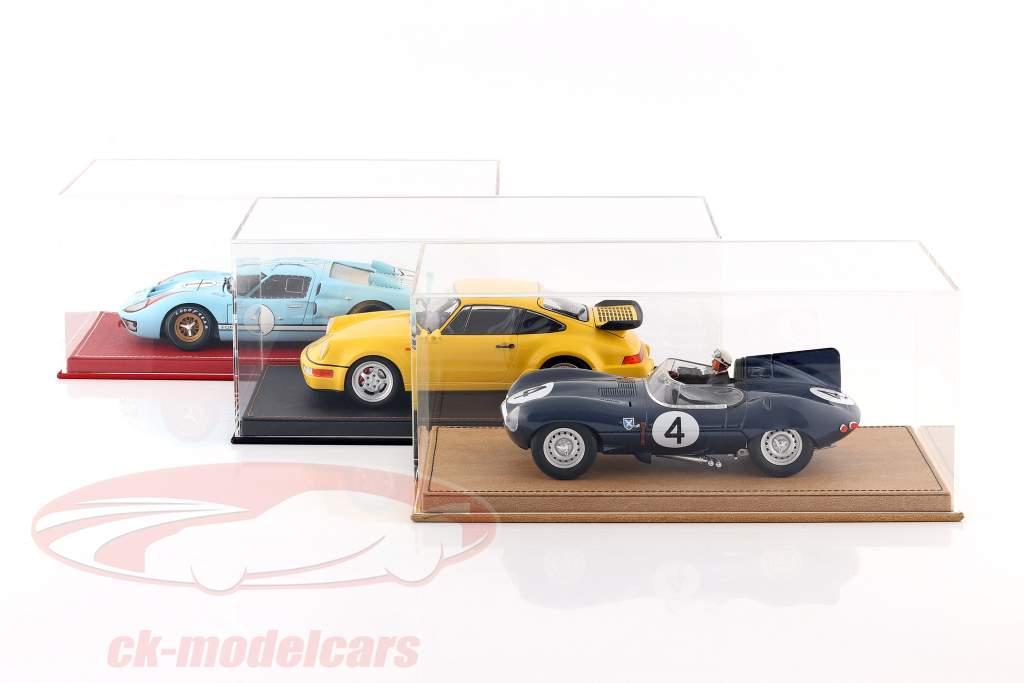 Alta qualidade mostruário com placa de base Fora do couro para modelo carros dentro escala 1:18 Preto SAFE