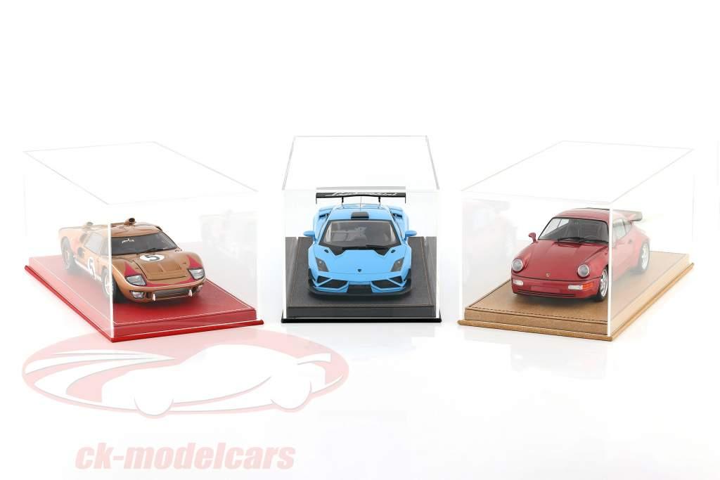 Hoge kwaliteit vitrine met basisplaat uit van leer voor model- auto's in schaal 1:18 rood VEILIG