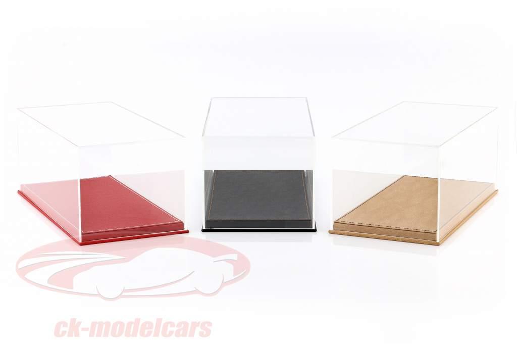 Hochwertige Vitrine mit Bodenplatte aus Leder für Modellautos im Maßstab 1:18 beige SAFE
