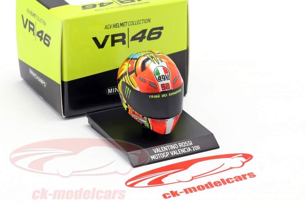 Valentino Rossi MotoGP Valencia 2011 AGV hjelm 1:10 Minichamps
