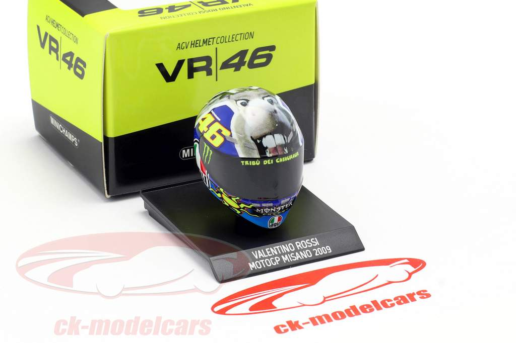 Valentino Rossi Winner Misano MotoGP World Champion 2009 AGV helmet 1:10 Minichamps