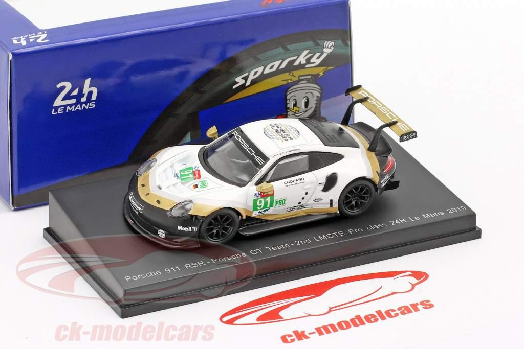 Porsche 911 RSR GTE #91 2nd LMGTE Pro 24h LeMans 2019 Porsche GT Team 1:64 Spark