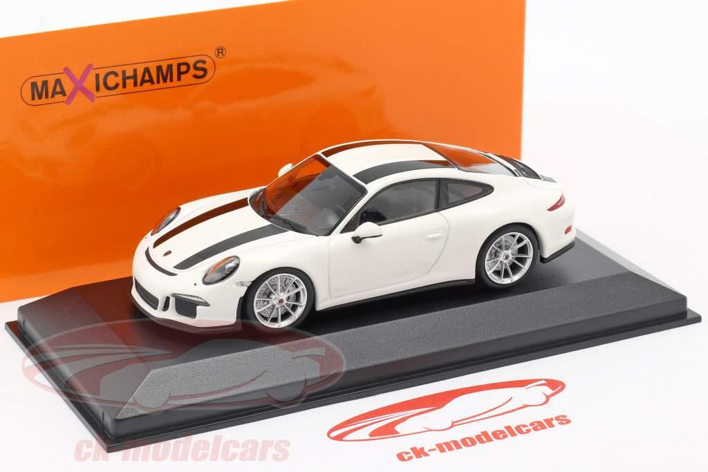 Porsche 911 R Bouwjaar 2016 Wit / zwart 1:43 Minichamps