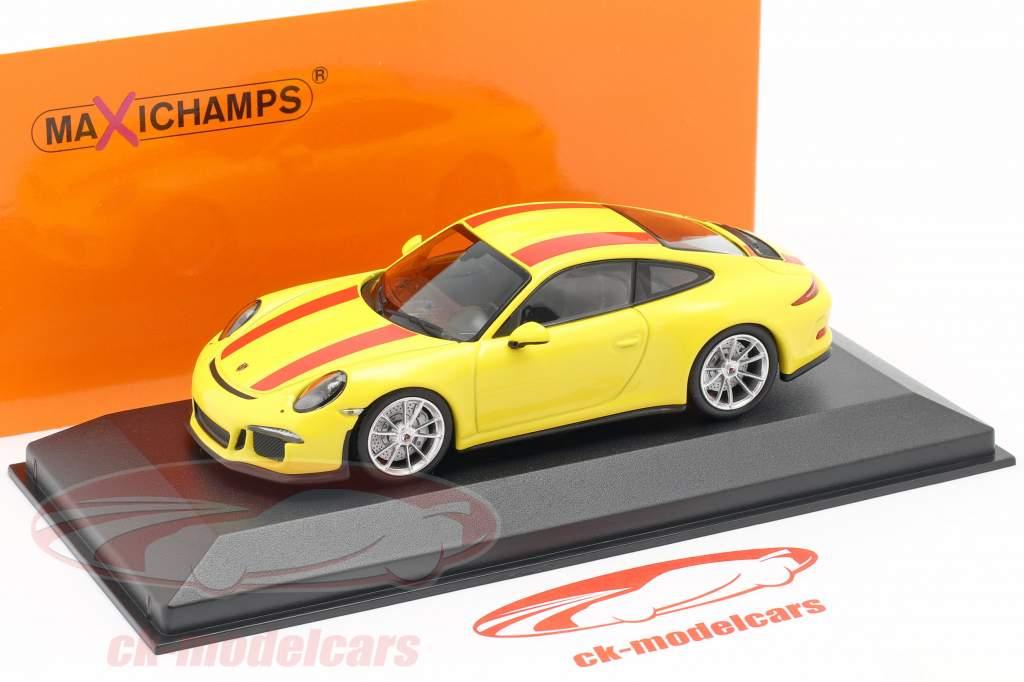 Porsche 911 R Baujahr 2019 gelb / rot 1:43 Minichamps