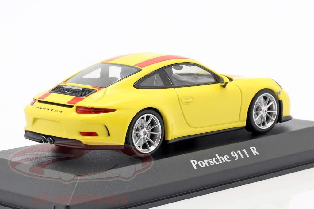 Porsche 911 R Año de construcción 2019 amarillo / rojo 1:43 Minichamps