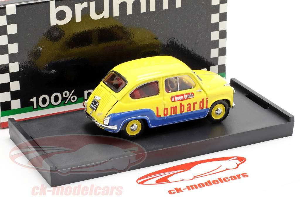 Fiat 600 Brodo Lombardi 1960 Veicolo Commerciale giallo / blu 1:43 Brumm