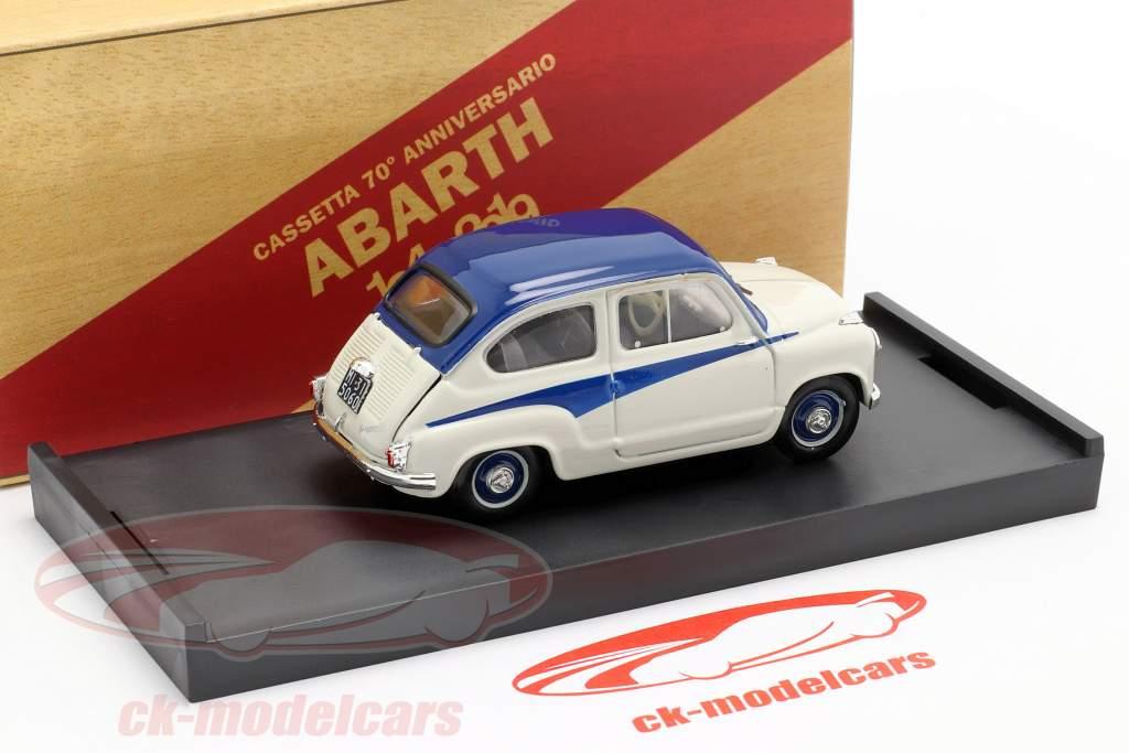 Fiat 600 Derivazione Abarth 750 Byggeår 1956 hvid / blå 1:43 Brumm