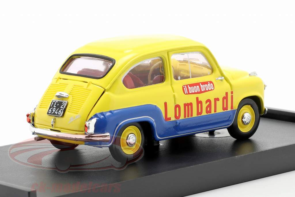 Fiat 600 Brodo Lombardi 1960 Veicolo Commerciale Jaune / bleu 1:43 Brumm