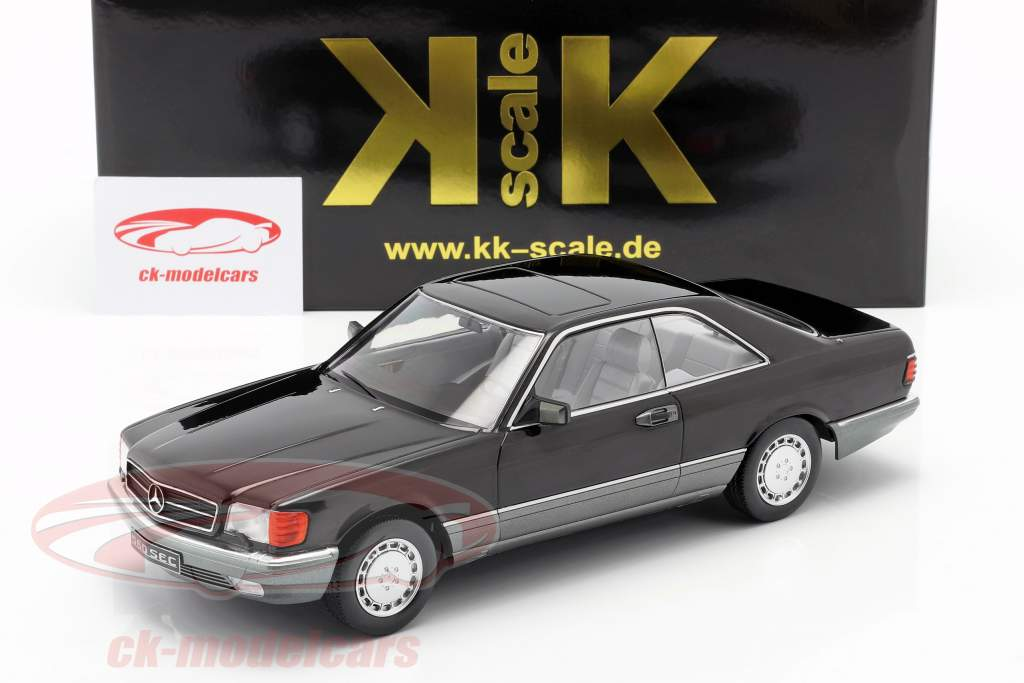 Mercedes-Benz 560 SEC C126 Bouwjaar 1985 zwart 1:18 KK-Scale