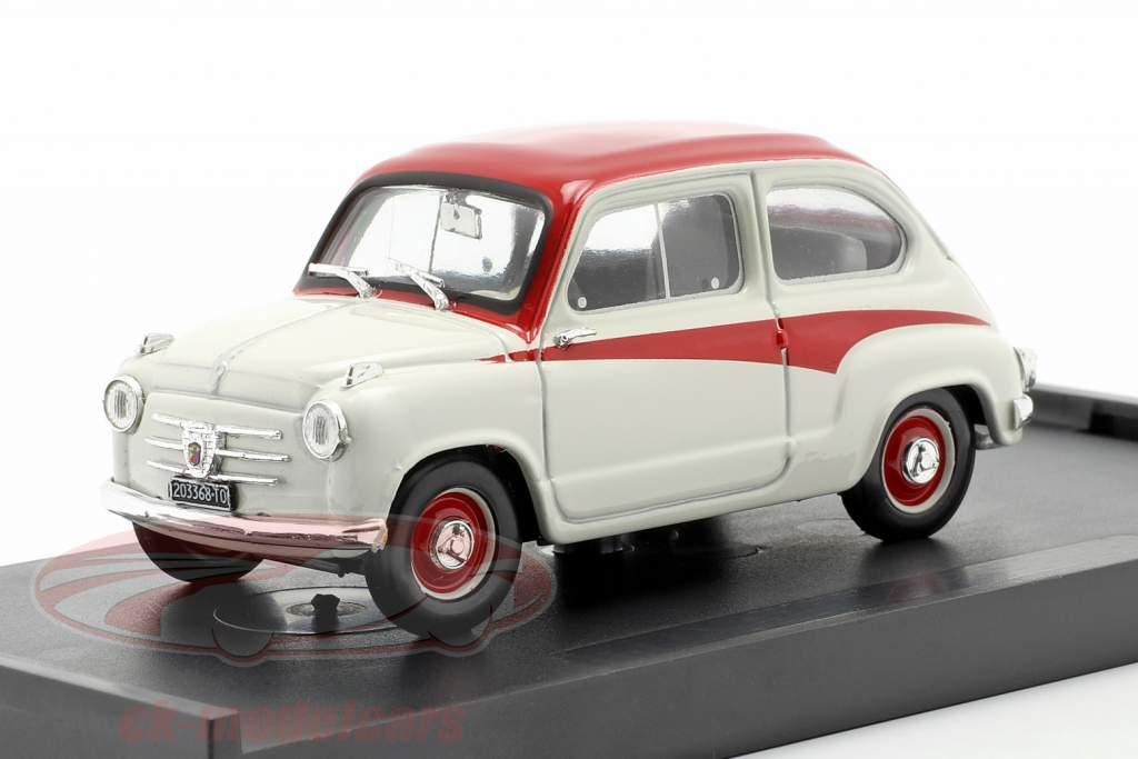 Fiat 600 Derivazione Abarth 750 Ano de construção 1956 Branco / vermelho 1:43 Brumm