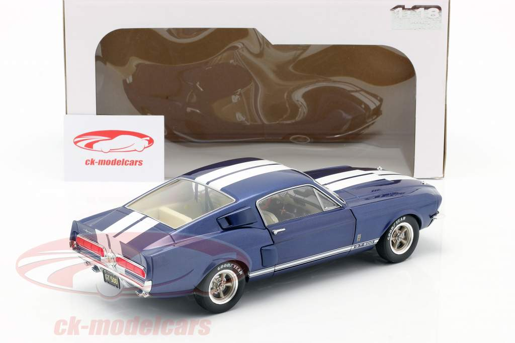 Ford Shelby Mustang GT 500 year 1967 blue metallic / white 1:18 Solido