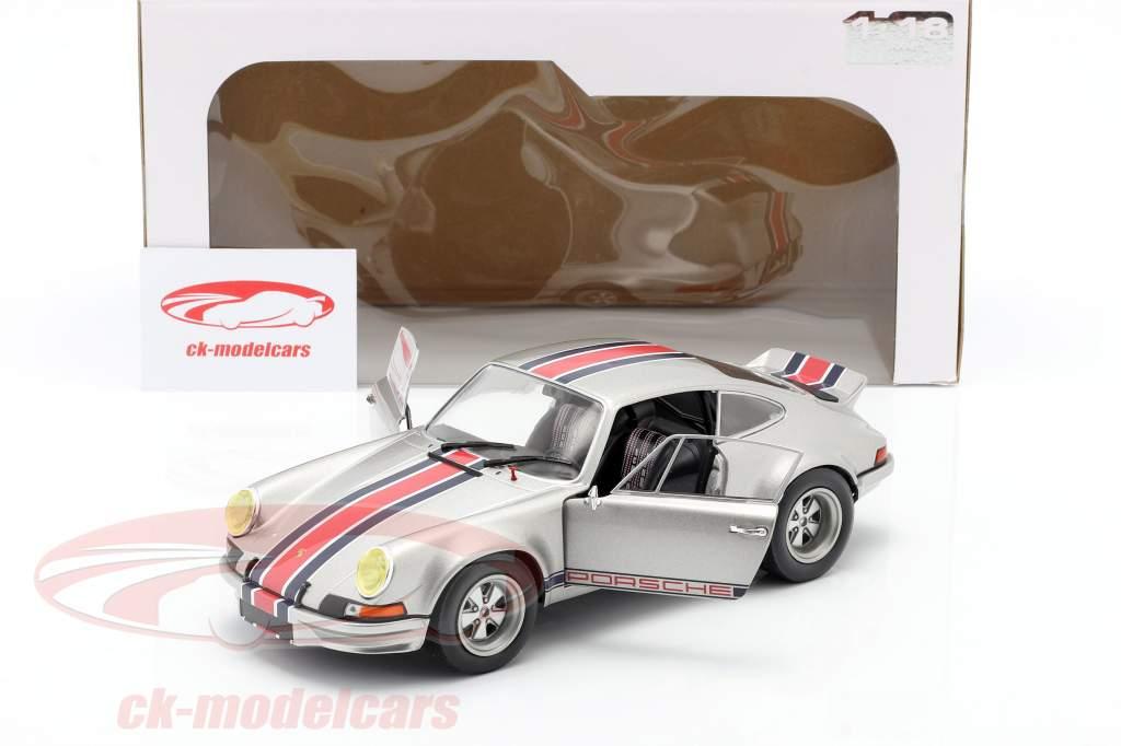 Porsche 911 RSR Bouwjaar 1973 Zilver grijs metalen 1:18 Solido