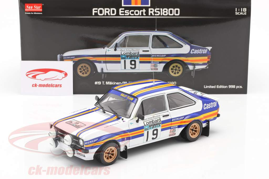 Ford Escort RS1800 #19 RAC Rallye 1980 Mäkinen, Homes 1:18 Sun Star