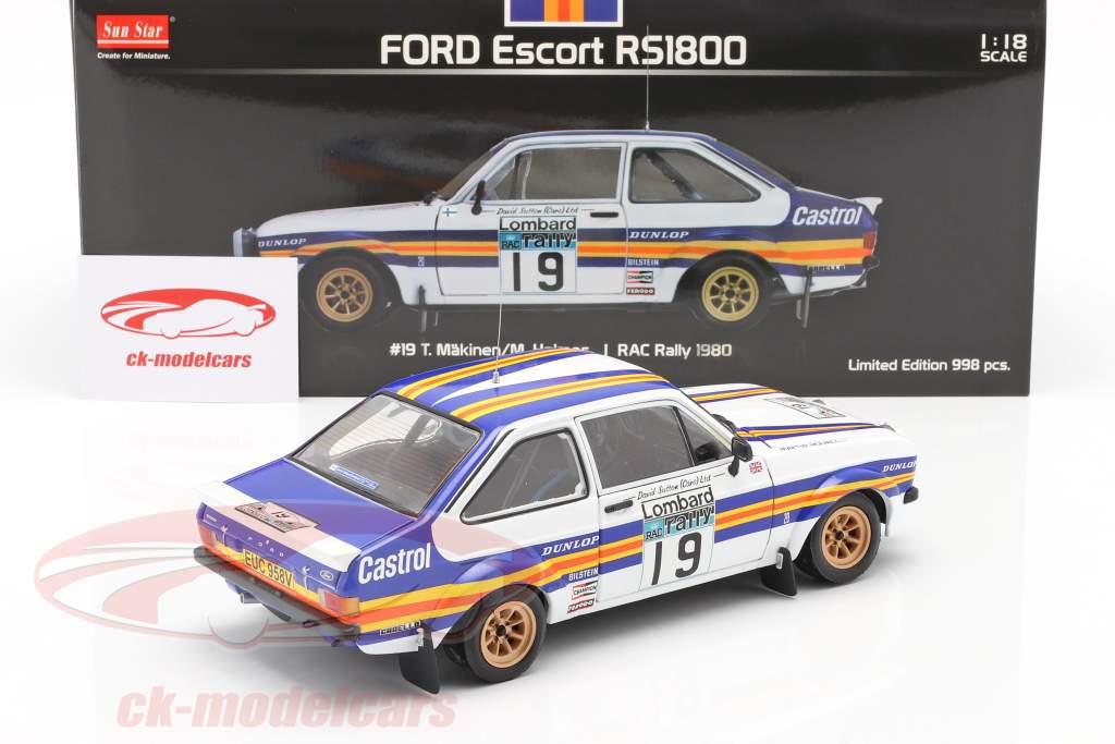 Ford Escort RS1800 #19 RAC Rally 1980 Mäkinen, Homes 1:18 Sun ster