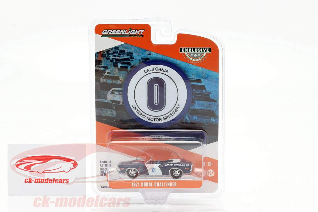 Dodge Challenger #0 Official Pace Car Ontario Motor Speedway 1:64 Greenlight