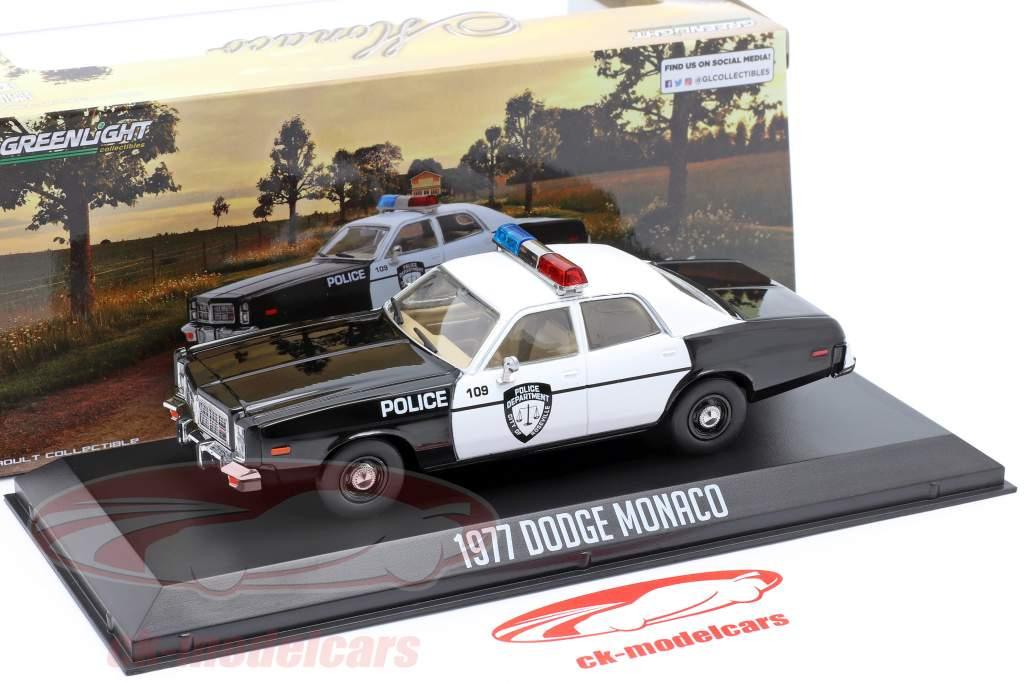 Dodge Monaco Police Anno di costruzione 1977 nero / bianca 1:43 Greenlight