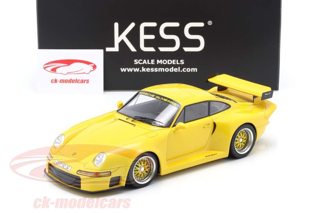 Porsche 911 (993) GT1 Almeras geel 1:18 KESS