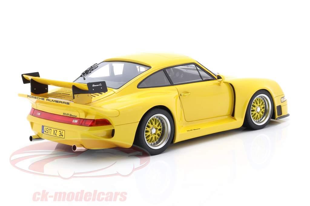 Porsche 911 (993) GT1 Almeras gul 1:18 KESS