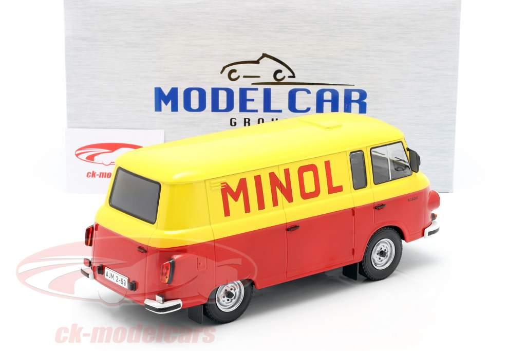 Barkas B 1000 Kastenwagen Minol geel / rood 1:18 Model Car Group