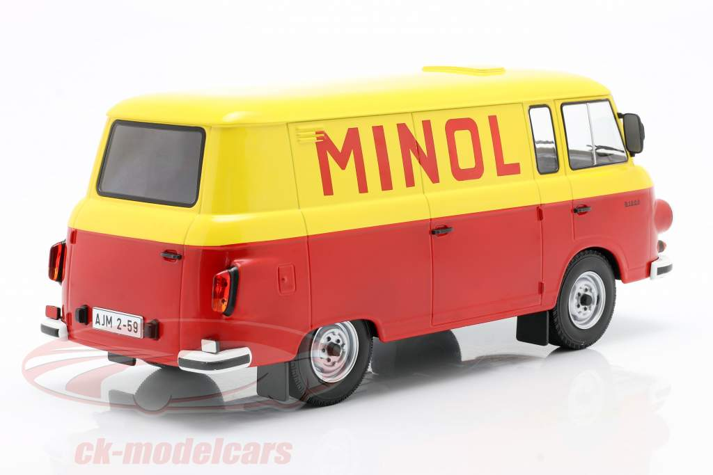 Barkas B 1000 Kastenwagen Minol gul / rød 1:18 Model Car Group