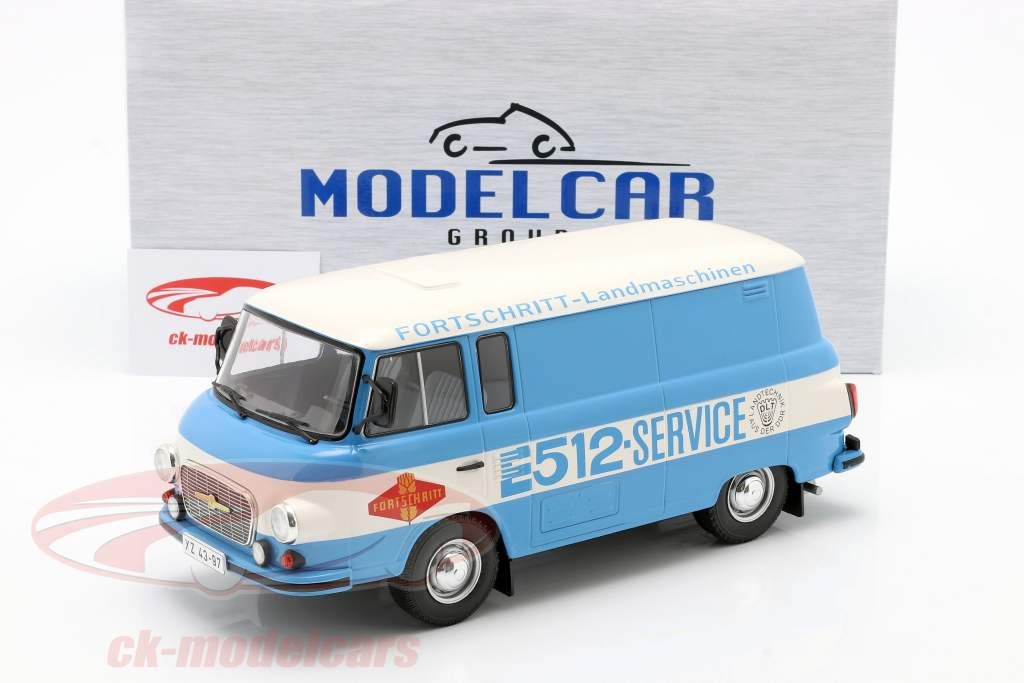 Barkas B 1000 Kastenwagen Fortschritt-Service blå / hvid 1:18 Model Car Group