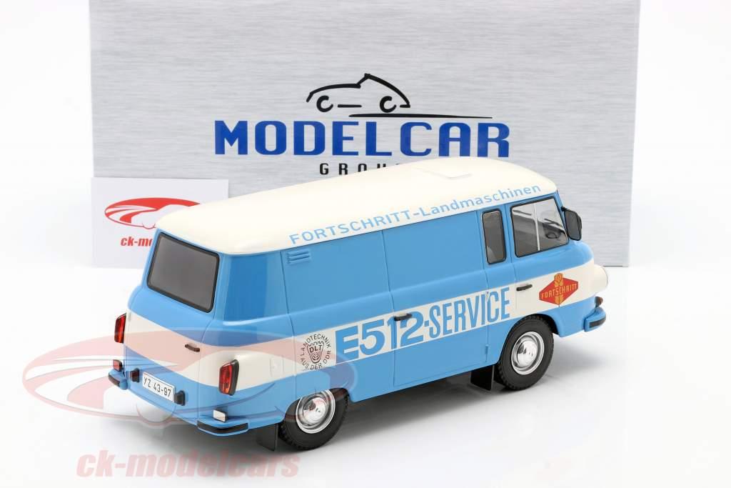 Barkas B 1000 Kastenwagen Fortschritt-Service blauw / Wit 1:18 Model Car Group